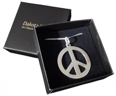 Peace Anhänger mit Kette in 925 Silber