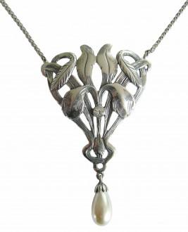 Jugendstil Schmuck Silberkette mit Perlenabhaengung