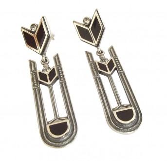 Art Deco Ohrringe 925 Silber, mondän