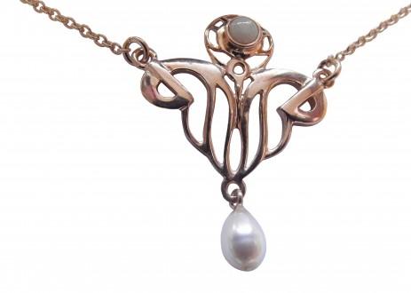 Antik Halskette rose vergoldet mit Opal und Perle