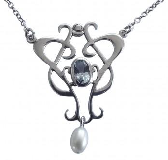 Antik Halskette leicht patiniert mit Topas und Perle