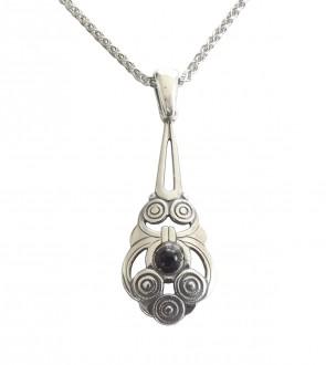 925 Silber Halskette mit konzentrischen Applikationen und Onyx Cabuchon
