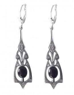 Jugendstil Ohrringe mit Onyx und Swarovskikristallen