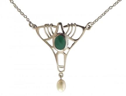 Halskette im Jugendstil 925 Silber mit grünem Achat und SWZ - Perle
