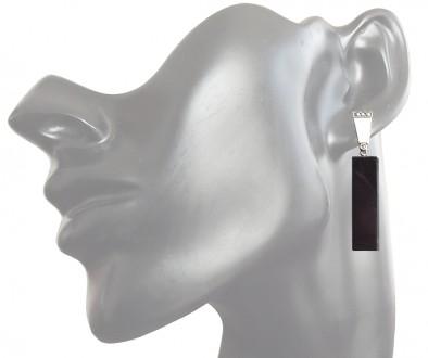Ohrringe 925 Silber polierter Onyx Markasiten Feueremaille Art Deco Stil