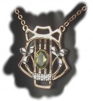 Damen Halskette 925 Silber rose teilvergoldet mit echtem Peridot aus der Heritage Collection