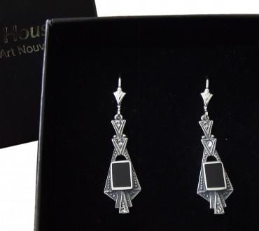 Ohrringe im Art Deco Stil 925 Silber mit Swarovskikristallen