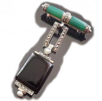 Damen Brosche 925 Silber Achat Onyx Perlen Markasiten im Art Deco Stil