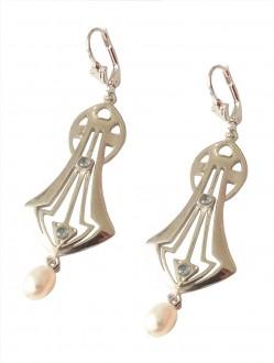 Jugendstil Ohrringe mit Aquamarinen und Perlen