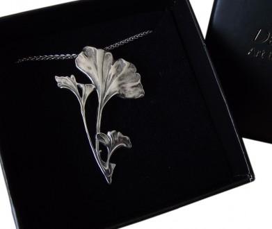 Halskette Jugendstil 925 Silber Ginkgo