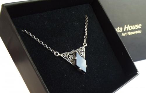 Halskette 925 Silber Onyx Markasiten Vintage Style