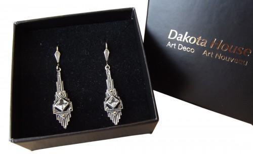 Ohrringe Blautopas Markasiten 925 Silber Vintage Style