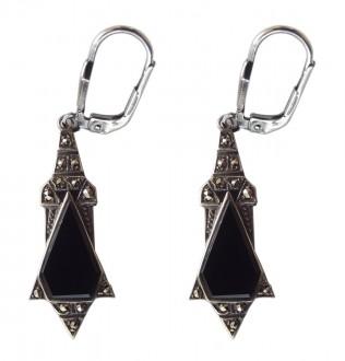 Ohrringe Onyx Markasiten 925 Silber