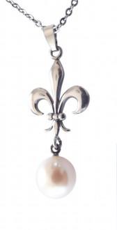 Halskette 925 Silber Perlenabhängung Lilie
