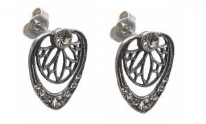 Anmutige Jugendstil Ohrstecker Ohrringe 925 Silber