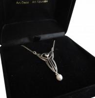 Antik Collier Kette Halskette mit Aquamarin und Perle