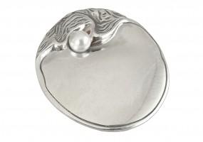 Jugendstil Brosche bzw. Anhänger Auster mit Perle, Silber