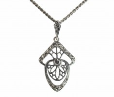 Anmutige Jugendstil Halskette Collier Kette 925 Silber