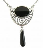 Jugendstil Schmuck Halskette Silber mit Onyx Abhaengung