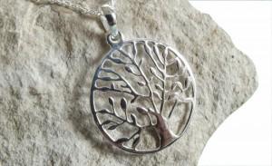 Halskette Anhänger Lebensbaum 925 Silber