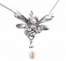 Jugendstil Schmuck Halskette Frauenkopf mit Schmetterlingsflügeln