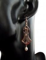 Jugendstil Ohrringe mit Opalen und Perlen