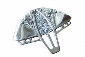 Art Deco Anhänger / Brosche Baum Silber poliert