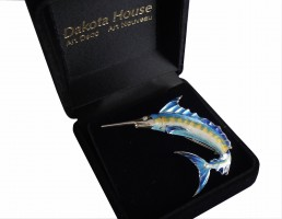 Blauer Marlin Schmuckbrosche 925 Silber mit Diamant und Emaille
