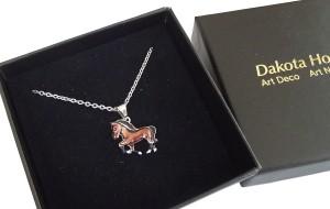 Halskette Pferd 925 Silber mit Emaille