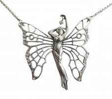Jugendstil Kette Frauenkörper mit Schmetterlingsflügeln und Kristall