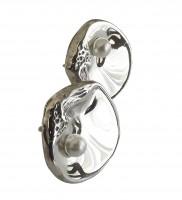 Jugendstil Ohrstecker Auster mit Perle
