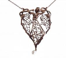 Jugendstil Halskette Frauenrücken 925 Silber mit Opalen und Perle