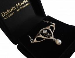 Jugendstil Collier 925 Silber mit Opal und Perle