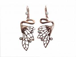 Jugendstil Ohrhänger Ohrringe Engelsflügel rose vergoldet patiniert mit Opalen