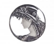 Jugendstil Brosche Mädchen bzw. Frau mit Schute 925 Silber