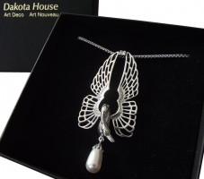 Halskette 925 Silber Schwan im Jugendstil mit Kristall und Perle