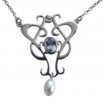 Halskette Damen 925 Silber patiniert Topas Perle Antik Stil