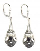 Ohrringe 925 Silber mit Onyx Cabochon Altchristliche Symbole