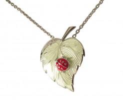 Halskette 925 Silber mit weißen Saphiren und grünem und rotem Emaille