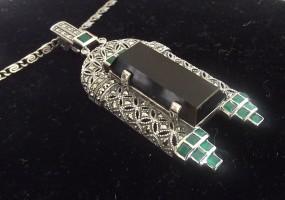 Halskette 925 Silber mit Achat Onyx Markasiten Art Deco Stil 1930