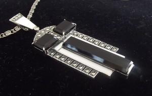 Halskette 925 Silber mit Onyx Markasiten Art Deco Stil 1930