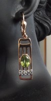 Damen Ohrringe 925 silber rose teilvergoldet mit echtem Peridot