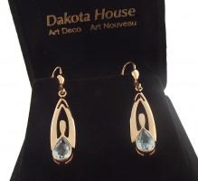 Damen Ohrringe 925 silber rose vergoldet mit Blautopas