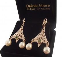 Damen Ohrringe 925 silber rose vergoldet mit echtem Peridot und Perlen
