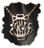 Halskette 925 Silber rose vergoldet mit Blautopas