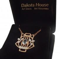 Damen Halskette 925 Silber rose vergoldet mit Blautopas
