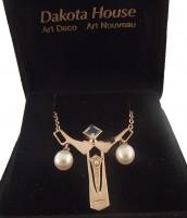 Halskette Damen 925 Silber rose vergoldet mit großem Blautopas und Perlen
