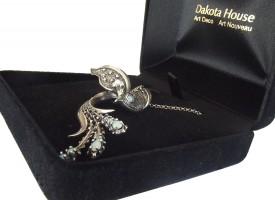 Halskette Damen 925 Silber patiniert mit Opalen und Perle