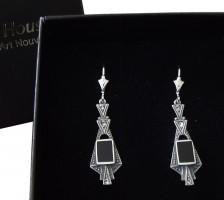 Damen Ohrringe 925 Silber mit Swarovskikristallen im Art Deco Stil
