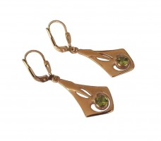 Damen Ohrringe 925 silber vergoldet mit echtem Peridot Geschenkverpackung